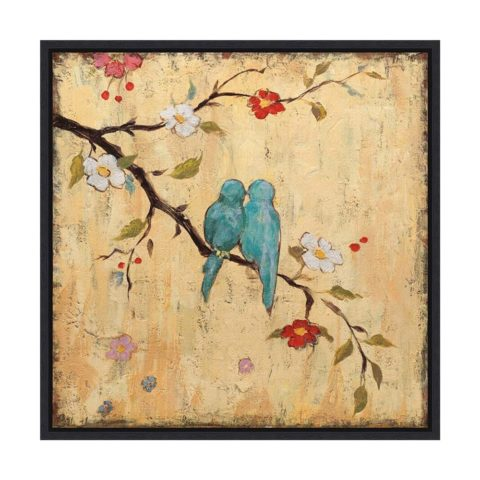 Framed Canvas Wall Art Print | Home Wall Decor Canvas Art | Love Birds II by Katy Frances | Modern Decor | Stretched Canvas Prints 16.0 x 16.0 in.