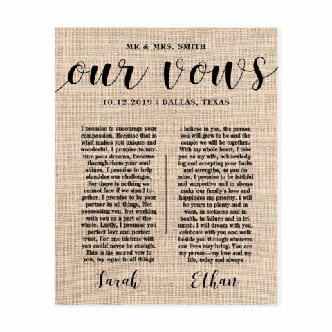 "Wedding Vows Print, Custom Fabric Print, 8 x 10"" to 13 x 19"", Wedding or Anniversary Gift"